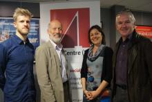 (l-r) Yoke Farm director Tim Keeling, Justice Minister David Ford, Júlia Tomás from Unchosen and Law Centre NI director Glenn Jordan